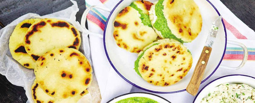 AREPAS WITH QUESO BLANCO AND GUASACACA