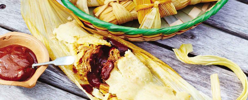 TAMALES WITH PULLED PORK AND CHILLI SAUCE
