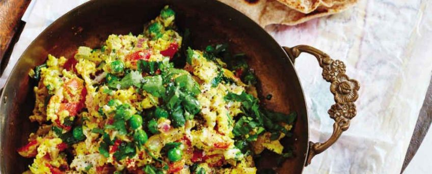 EGG BHURJI WITH BUTTERY PARATHAS