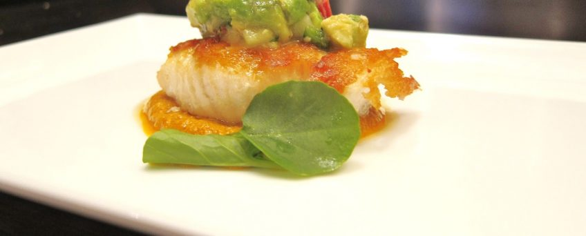 Bass with Avocado Sauce