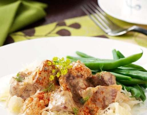 Bohemian Beef Dinner with Paprika Sour Cream